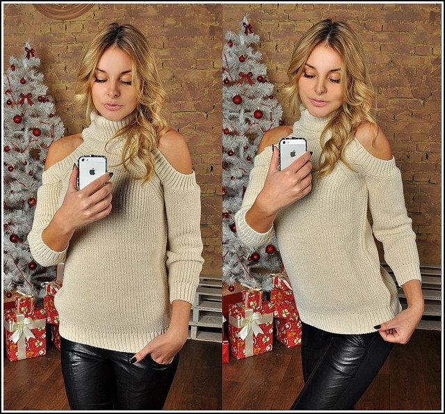 Вязание свитеров с открытыми плечами 634
