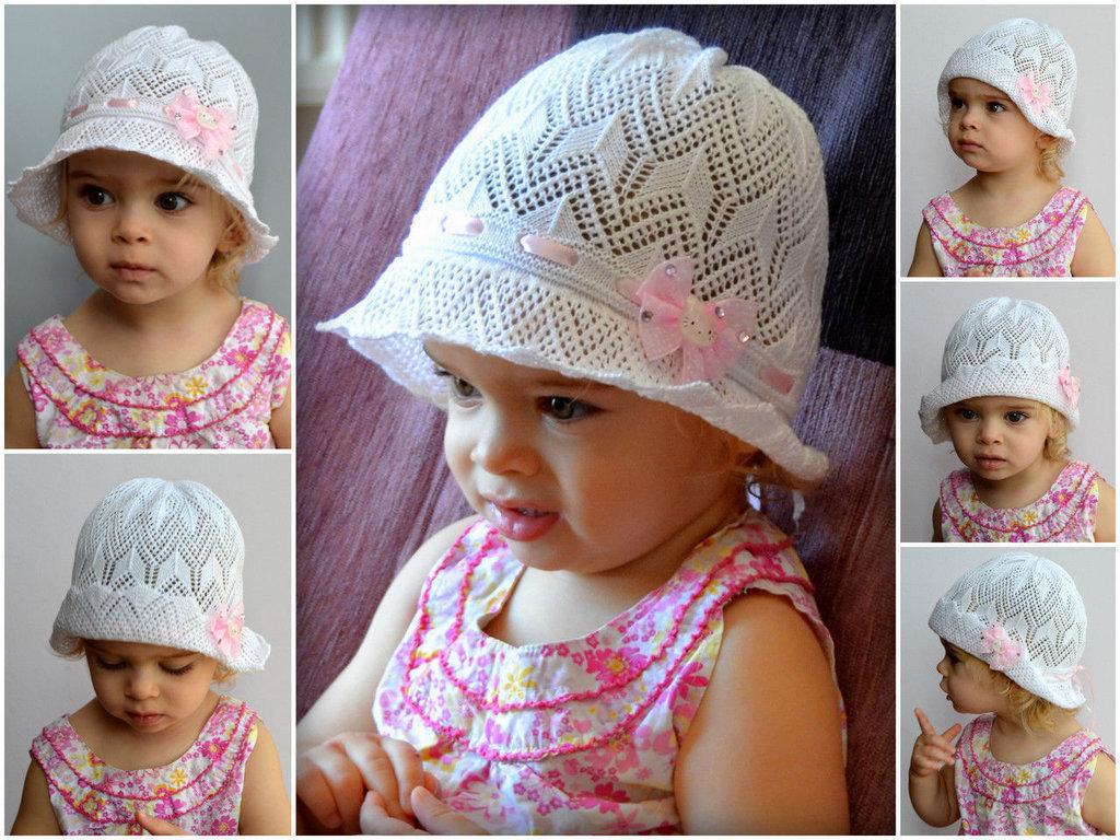 Вязание летних шапочек на девочек до 2 лет 781