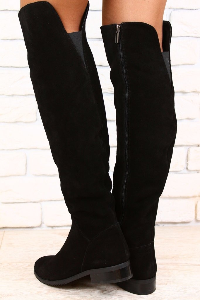 Женские ботфорты замшевые без каблука