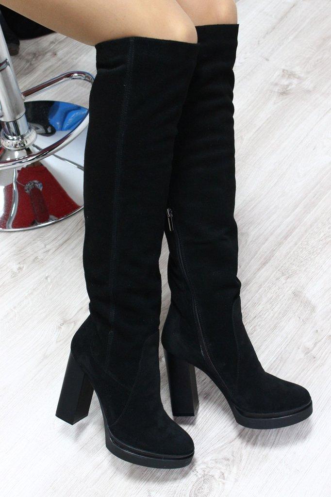 Сапоги зимние женские замшевые на каблуке купить