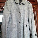 Демисезонное шерстяное пальто, размер 48