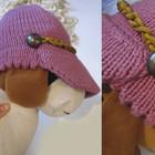 Кепка вязанная розовая
