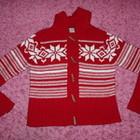 Красный теплый свитер с капюшоном, размер L