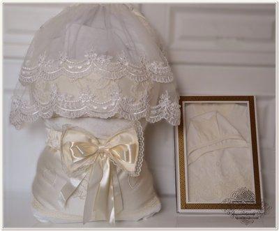 Шикарный зимний конверт на выписку для новорожденного Ангел ivory