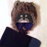 Зимняя шапка с шарфиком GAP на 4-8 лет. Мишка