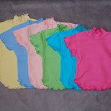 Новые блузки рубчик опиковка белые и цветные, рост 80-128см