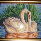 Картина Лебеди , частично вышита бисером