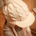 Красивая полушерстяная вязаная белоснежная шапка-ушанка 50-54 р-р
