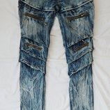 брюки, джинсы, штаны с разводами, с молниями, размер S-М, скини скинни