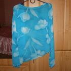 Стильная блузка-туника с тюльпанами,S-M