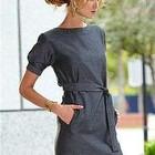 Пристижное офисное платье темно-серое и черное
