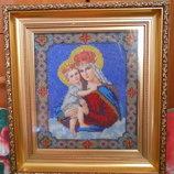 Ікона, вишита бісером Мадонна с младенцем
