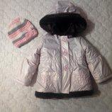 Розовая перламутровая куртка на 1-1,5 года. Италия. Курточка на меху.