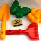 Песочный набор 2 лопатка и грабельки и две большие пасочки 6 цветов