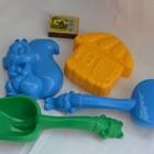 Песочный набор 3 лопатка и грабельки и две больших пасочки 6 цветов