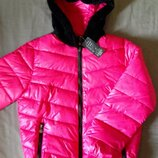 Куртка Пуховик невесомый тёплый парка розовый Пух р.M-L-XL