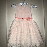 Шикарное нарядное платье с поясом YD. 6-8 лет. Англия. Кружевное, ажурное, стильное, пышное, праздни