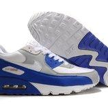 Кроссовки Nike Air Max 90 - бело-серые голубой