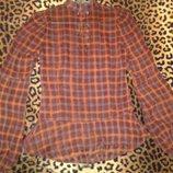 прозрачная блузка в клетку и с рюшами