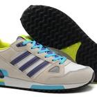 Женские кроссовки Adidas ZX750 серые с синими вставками