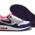 Женские кроссовки Nike Air Max 87 серо-белые с сиреневыми вставками