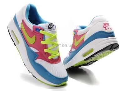 98a56ceb Женские кроссовки Nike Air Max 87 бело-розово-голубые с салатовыми  шнурками. Previous Next