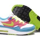 Женские кроссовки Nike Air Max 87 бело-розово-голубые с салатовыми шнурками