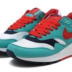 Женские кроссовки Nike Air Max 87 бирюзовые с красными шнурками