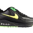 Женские кроссовки Nike Air Max 90 черные с желтыми вставками