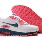 Женские кроссовки Nike Air Max 90 бело-розовые с синими вставками