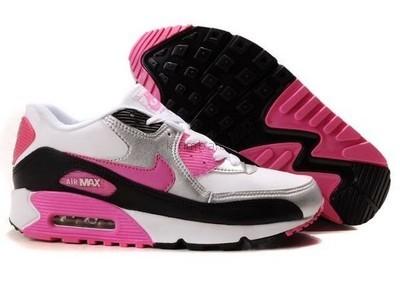 Женские кроссовки Nike Air Max 90 черно-белые с роз. и серебр. вставками