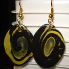 Серьги черно-желтые - из полимерной глины.