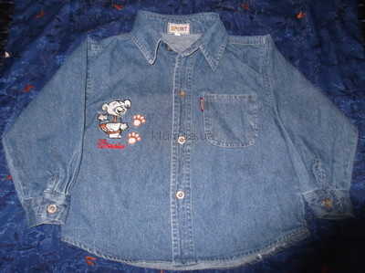 Джинсовая рубашка для мальчика размер м на рост 104-110 см