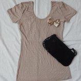 майка маечка футболка разлетайка, размер S блуза блузка с бантиком со стразами туника