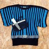 НОВАЯ кофта свитер болеро размер S-M-L накидка реглан худи с поясом со стразами