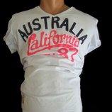 Мужская Baxboy белая стильная футболка из Италии с крутым принтом California - Australia USA рXXL-XL