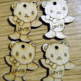 Подвески мишка Love медвежонок пуговицы