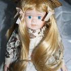 Фарфоровая кукла в соломенной шляпе высота-43см