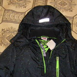 Черная яркая утепленная куртка рост 128-164