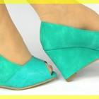 Красивые яркие мятные туфельки GREEN PREMIERE CUIR