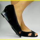 Нарядные черные оригинальные туфельки замш-стразы,прозрачный каблучек