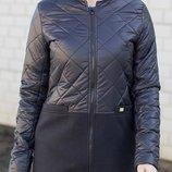 Красивые демисезонные пальто из кашемира и плащевки, размеры 44-50, цвета черный, синий, коричневы