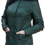 Демисезонное стеганное пальто, размеры 42-50, цвета бутылочный, красный, оливка, салатный