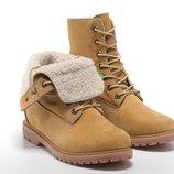 Женские ботинки High Timberland Teddy Fleece Yellow С Мехом
