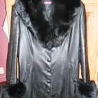кожанное пальто с чернобуркой р.50-52