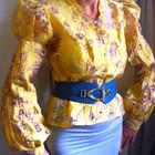 золотисто-желтая блузка из органзы, р.М