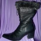 Сапоги зимние кожаные черные с опушкой р.37