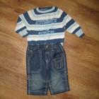 Костюм-тройка-Бодик с воротничком, джинсы и свитер на 0-6 мес
