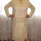Вязаный кремовый нарядный костюм тройка - юбка, кардиган, топ, р. 50-52