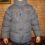 Теплая осенне-зимняя серая на меху и куртка ZET недорого на рост 134-146